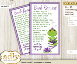 Request a Book Instead of a Card for Girl Frog Baby Shower or Birthday, Printable Book DIY Tickets, Polka, Green Purple