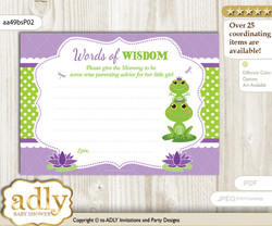 Green Purple Girl Frog Words of Wisdom or an Advice Printable Card for Baby Shower, Polka
