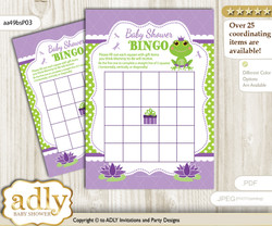Printable Green Purple Frog Bingo Game Printable Card for Baby Girl Shower DIY grey, Green Purple, Polka