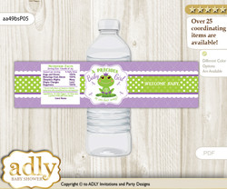 Girl Frog Water Bottle Wrappers, Labels for a Frog  Baby Shower, Green Purple, Polka