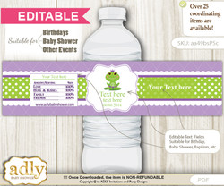 DIY Text Editable Girl Frog Water Bottle Label, Personalizable Wrapper Digital File, print at home for any event