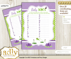 Girl Frog Baby ABC's Game, guess Animals Printable Card for Baby Frog Shower DIY – Polka