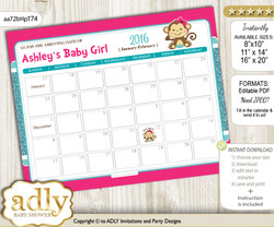 DIY Girl Monkey Baby Due Date Calendar, guess baby arrival date game