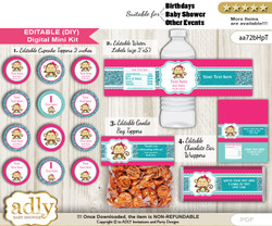 DIY Text Editable Girl Monkey Baby Shower, Birthday digital package, kit-cupcake, goodie bag toppers, water labels, chocolate bar wrappers