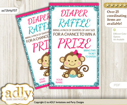 Girl Monkey Diaper Raffle Printable Tickets for Baby Shower, Hot Pink, Glitter