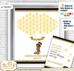 African Prince Guest Book Alternative for a Baby Shower, Creative Nursery Wall Art Gift, Gold, Black