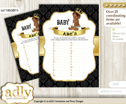 African Prince Baby ABC's Game, guess Animals Printable Card for Baby Prince Shower DIY – Black