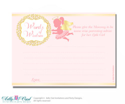 Gold Little Angel Words of Wisdom or an Advice Printable Card for Baby Shower, Pink