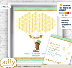 African Prince Guest Book Alternative for a Baby Shower, Creative Nursery Wall Art Gift, Gold, Mint