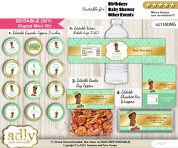 DIY Text Editable African Prince Baby Shower, Birthday digital package, kit-cupcake, goodie bag toppers, water labels, chocolate bar wrappers  nn