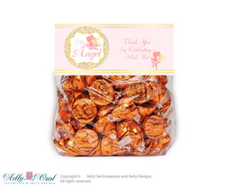 Printable Little Angel Treat or Goodie bag Toppers for Baby Little Shower or Birthday DIY Gold, Pink