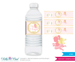Little Angel Water Bottle Wrappers, Labels for a Angel Baby Shower, Gold, Pink