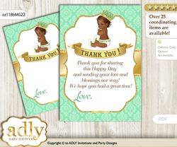 African  Prince Thank you Cards for a Baby African Shower or Birthday DIY Gold, Mint