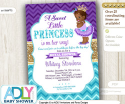 Purple Teal Gold African Princess Royal Invitation for Baby Shower