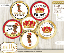 Baby Shower African Prince Cupcake Toppers Printable File for Little African and Mommy-to-be, favor tags, circle toppers, Royal, Red gold