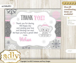Girl Elephant Thank you Printable Card with Name Personalization for Baby Shower or Birthday Party nn