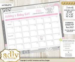 DIY Girl Elephant Baby Due Date Calendar, guess baby arrival date game
