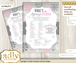 Girl Elephant What is in Mommy's Purse, Baby Shower Purse Game Printable Card , Pink Grey,  Winter
