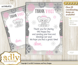 Girl  Elephant Thank you Cards for a Baby Girl Shower or Birthday DIY Pink Grey, Winter