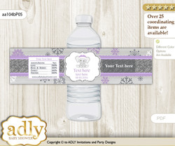 Girl Elephant Water Bottle Wrappers, Labels for a Elephant  Baby Shower, Purple Grey, Winter