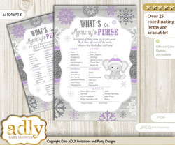 Girl Elephant What is in Mommy's Purse, Baby Shower Purse Game Printable Card , Purple Grey,  Winter