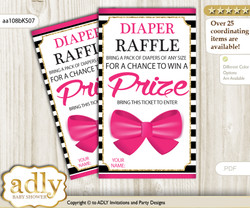 Girl Bow Diaper Raffle Printable Tickets for Baby Shower, Pink Gold, Stripes