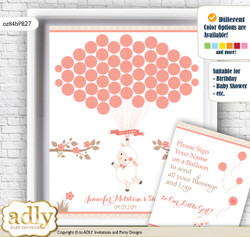 Girl Lamb Guest Book Alternative for a Baby Shower, Creative Nursery Wall Art Gift, Coral, Sheep