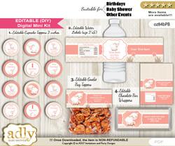 DIY Text Editable Girl Lamb Baby Shower, Birthday digital package, kit-cupcake, goodie bag toppers, water labels, chocolate bar wrappers n