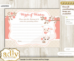 Coral Girl Lamb Words of Wisdom or an Advice Printable Card for Baby Shower, Sheep