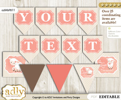 DIY Personalizable Girl Lamb Printable Banner for Baby Shower, Coral, Sheep