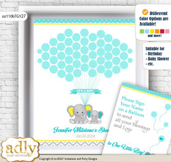 Boy Elephant Guest Book Alternative for a Baby Shower, Creative Nursery Wall Art Gift, Mint Yellow, Grey