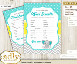 Boy Elephant Word Scramble Game for Baby Shower nnn