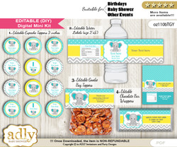 DIY Text Editable Boy Elephant Baby Shower, Birthday digital package, kit-cupcake, goodie bag toppers, water labels, chocolate bar wrappers