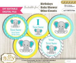 DIY Text Editable Boy Elephant Cupcake Toppers Digital File, print at home, suitable for birthday, baby shower, baptism