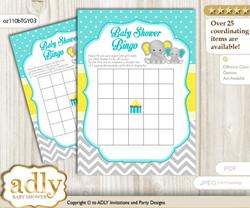 Printable Mint Yellow Elephant Bingo Game Printable Card for Baby Boy Shower DIY grey, Mint Yellow, Grey