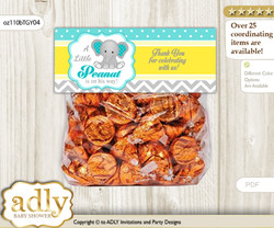 Printable Boy Elephant Treat or Goodie bag Toppers for Baby Boy Shower or Birthday DIY Mint Yellow, Grey