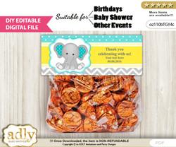 DIY Text Editable Boy Elephant Goodie  Treat Bag Toppers, Favor Bag Digital File, print at home