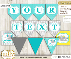 DIY Personalizable Boy Elephant Printable Banner for Baby Shower, Mint Yellow, Grey