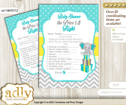Printable Boy Elephant Price is Right Game Card for Baby Elephant Shower, Mint Yellow, Grey