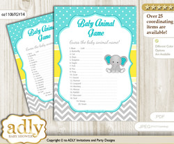 Printable Boy Elephant Baby Animal Game, Guess Names of Baby Animals Printable for Baby Elephant Shower, Mint Yellow, Grey