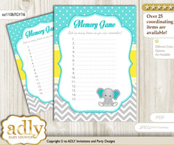 Boy Elephant Memory Game Card for Baby Shower, Printable Guess Card, Mint Yellow, Grey