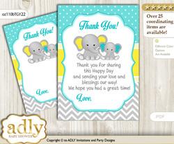 Boy  Elephant Thank you Cards for a Baby Boy Shower or Birthday DIY Mint Yellow, Grey