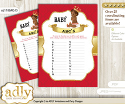 African Prince Baby ABC's Game, guess Animals Printable Card for Baby Prince Shower DIY – Royal