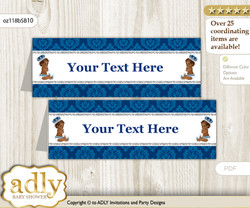 DIY Text Editable Printable African Prince Buffet Tags or Food Tent Labels  for a Baby Shower or Birthday , Silver blue, Crown