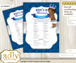 African Prince What is in Mommy's Purse, Baby Shower Purse Game Printable Card , Silver blue,  Crown