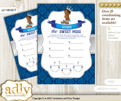 African Prince Dirty Diaper Game or Guess Sweet Mess Game for a Baby Shower Silver blue, Crown