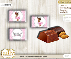 African Princess Chocolate Nuggets Candy Wrapper Label for Baby African Shower  Pink Silver , Royal