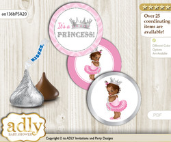Printable  African Princess Candy Kisses for Baby African Shower DIY Pink Silver , Royal
