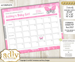 DIY Girl Butterfly Baby Due Date Calendar, guess baby arrival date game  b