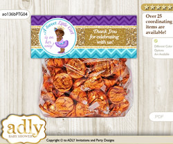 Printable African Princess Treat or Goodie bag Toppers for Baby African Shower or Birthday DIY Teal Gold, Royal